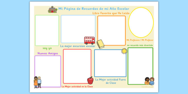 School Year Memory Write Up Spanish Translation - spanish, memory