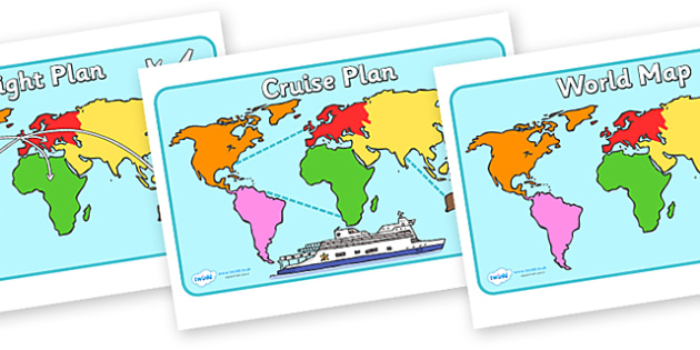 Montessori World Map Posters - Montessori, posters, sign, display, flight plan, cruise plan, world map, plane, ship, travel