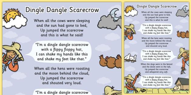 Dingle Dangle Scarecrow Nursery Rhyme Poster - scarecrow, recipe