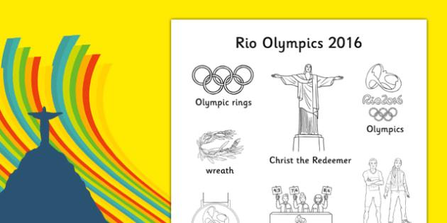 Rio Olympics 2016 Words Colouring Sheet - rio 2016, rio olympics, rio olympics 2016, 2016 olympics, words, colouring, sheet