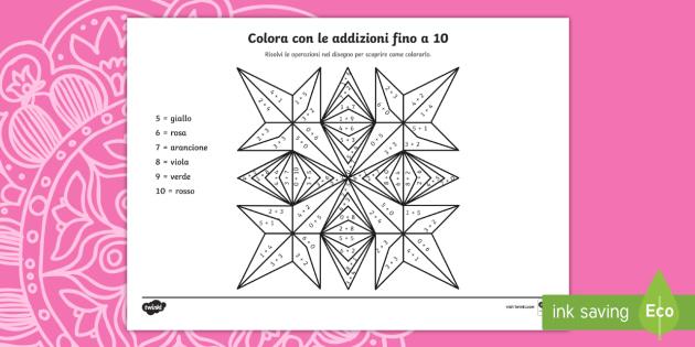 Colora i rangoli con le addizioni fino a 10 Fogli da colorare - colora, con, i, numeri, addizioni, matematica, somma, operazione, materiale, scolastico