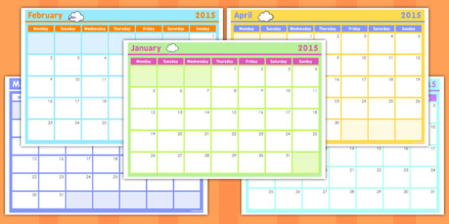 Monthly Calendar Planning Template 2016 - Monthly, Calendar