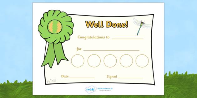 Minibeast Reward Certificate (30mm) - Reward Chart (30mm), reward chart, chart, reward, 30mm, stickers, twinkl stickers, award, certificate, well done, behaviour management, behaviour