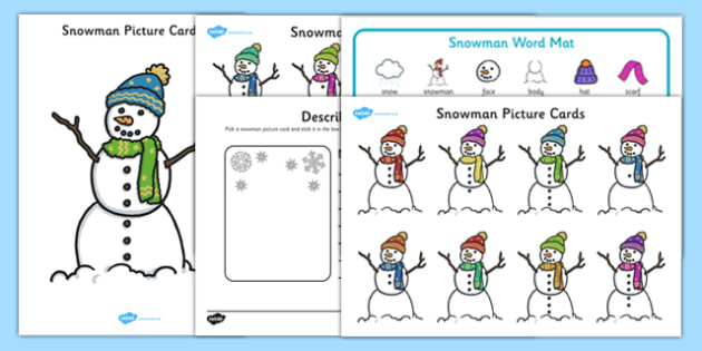 Snowman Description Pack - EYFS, Early Years planning, winter, seasons, story, The Snowman, Raymond Briggs, Literacy, descriptive writing