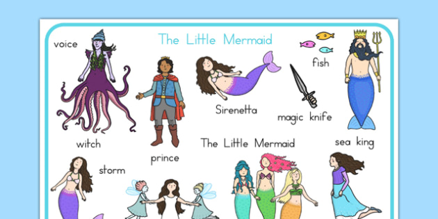 The Little Mermaid Word Mat - australia, little mermaid, word mat