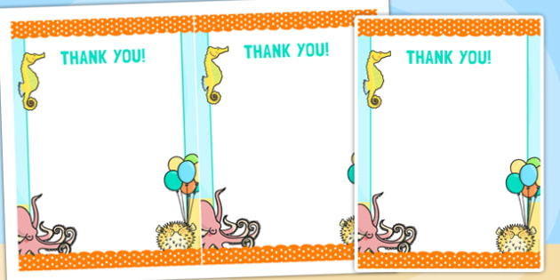 Under the Sea Themed Birthday Party Thank You Cards - birthdays