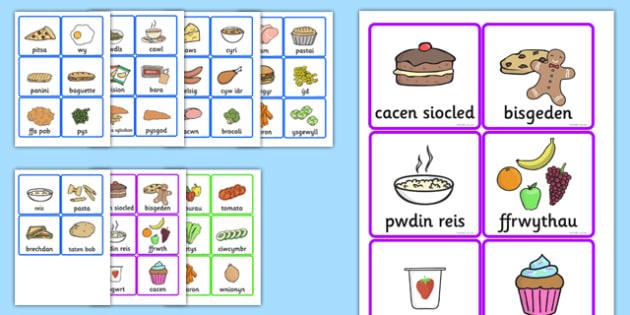 Food Cards Welsh Translation - food, cards, translation, welsh