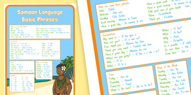 Samoan Language Basic Phrases Large Display Poster
