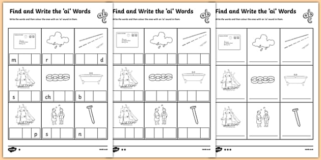 Find and Write the ai Words Differentiated Activity Sheet Pack, worksheet