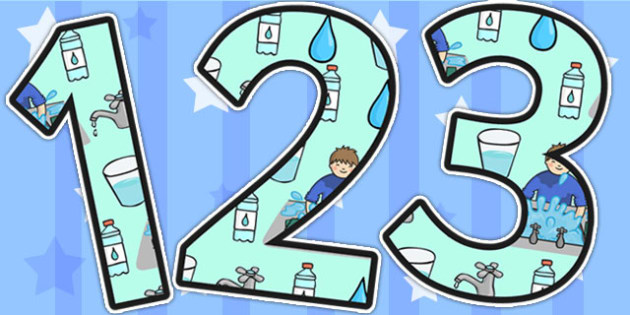 Water Area Themed Display Numbers - water, areas, number, display