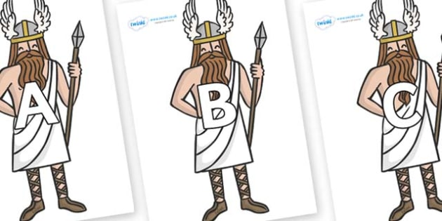 A-Z Alphabet on Viking Gods - A-Z, A4, display, Alphabet frieze, Display letters, Letter posters, A-Z letters, Alphabet flashcards