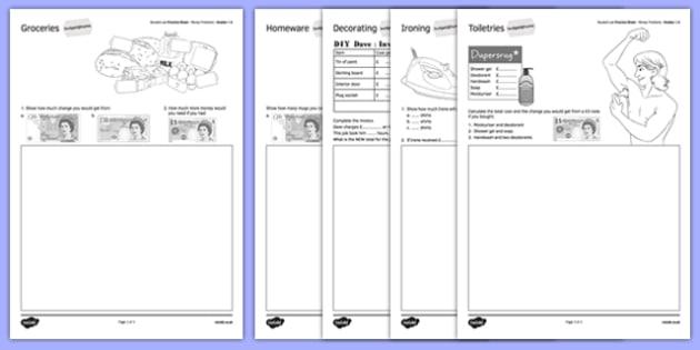 Student Led Practice Sheet Budget at Home Money Problems GCSE Grades 1-2 - KS3, KS4, GCSE, Maths, Finance, Budget, Home, independent learning, growth mindset, practise, assessment