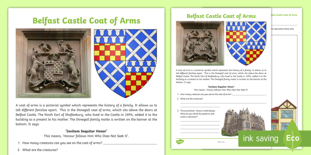 Belfast Castle Coat of Arms Read and Draw Activity Sheet - World Around Us KS2 - Northern Ireland, Belfast, History