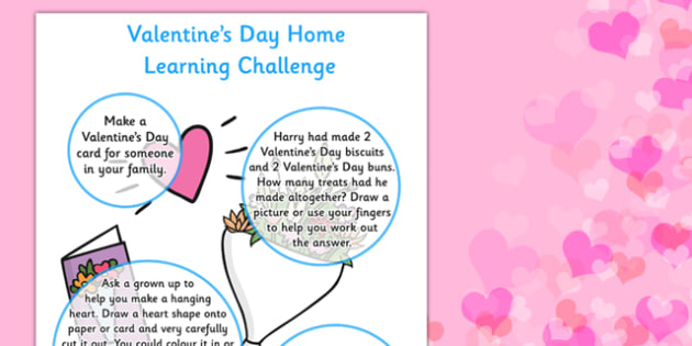 EYFS Valentine's Day Home Learning Challenge Sheet Nursery FS1 - eyfs, valentines day, home learning, challenge