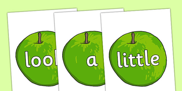 Phase 2 to 4 High Frequency Words on Apples - phase 2, phase 3, phase 4, high frequency words, apples, high frequency