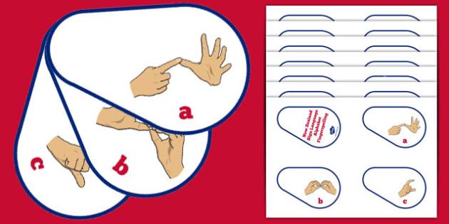 New Zealand Sign Language Alphabet Fingerspelling CutOuts - nz, new zealand, sign language, new zealand sign language week, alphabet, fingerspelling, cut outs