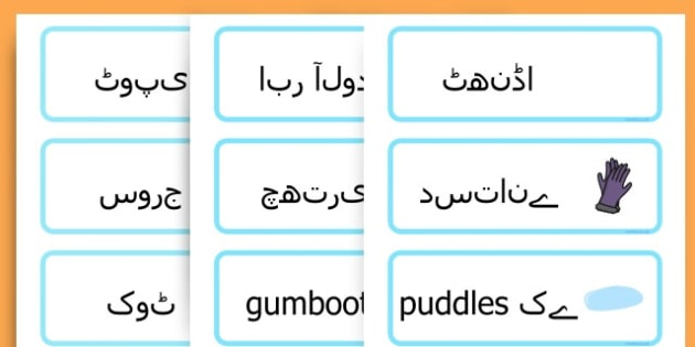 Winter Word Cards - seasons, weather, key words, visual aids  - Urdu