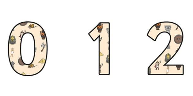 Ancient Civilizations Small Display Numbers - ancient civilisations, ancient civilisations numbers, ancient civilisations themed numbers, civilisations ks2