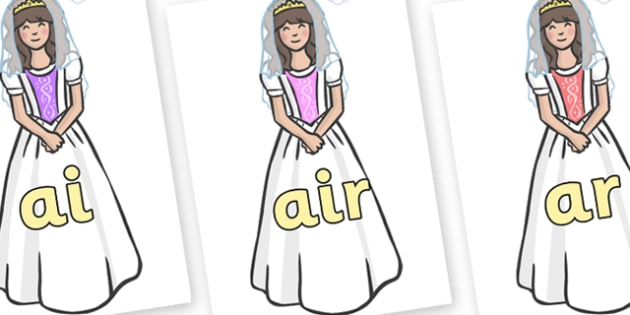 Phase 3 Phonemes on Princesses - Phonemes, phoneme, Phase 3, Phase three, Foundation, Literacy, Letters and Sounds, DfES, display