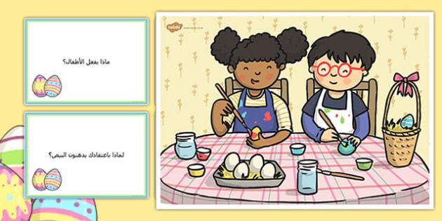 بطاقات أسئلة عن مشهد طلاء بيضة - أسئلة،÷ موارد، وسائل، تعليم