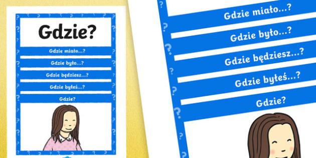 Plakat z pytaniami Gdzie? po polsku