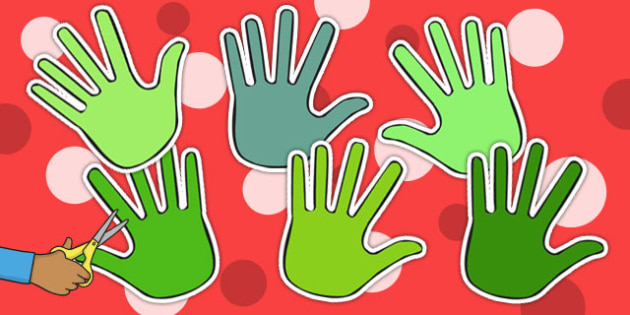 Shades of Green Handprint Cut Outs - activity, activities, craft