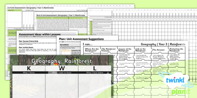 Geography: Rainforests Year 3 Unit Assessment Pack