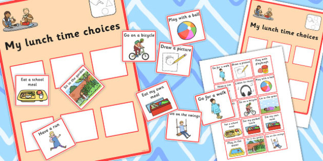 My Lunch Time Choices - lunch time, choices, cards, options
