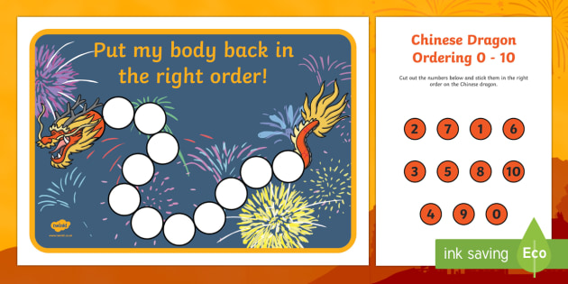 Chinese Dragon Ordering 0 to 10 Activity Sheet