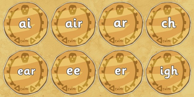 Phase 3 Phonemes on Pirate Coins - Phonemes, phoneme, Phase 3, Phase three, Foundation, Literacy, Letters and Sounds, DfES, display