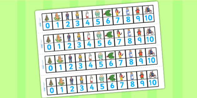 Number Track 0-10 to Support Teaching on The Jolly Christmas Postman - the jolly christmas postman, number track, the jolly postman number track, number track 0-10