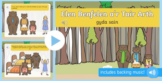 Stori Elen Benfelen (yn cael ei hadrodd) - elen, benfelen, arth, eirth, stori, adrodd, sain, Cymraeg, ,Welsh