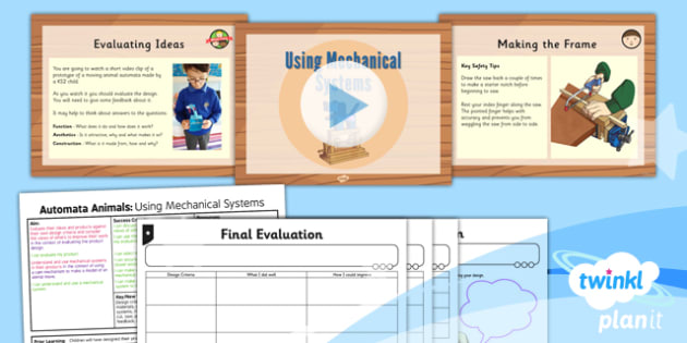 Design and Technology: Automata Animals: Mechanical Systems UKS2 Lesson Pack 6