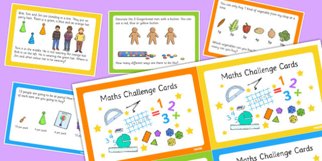 KS1 Maths Challenge Cards - ks1, maths, challenge cards, cards