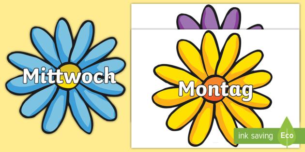 Days of the Week German - german, days, week, display, visual aid, flashcards