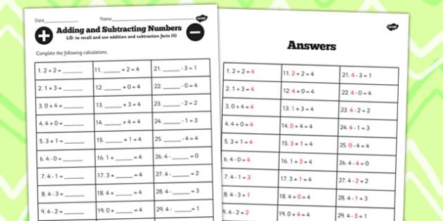 Number Facts to 4 Worksheet - number, facts, 4, worksheet, maths