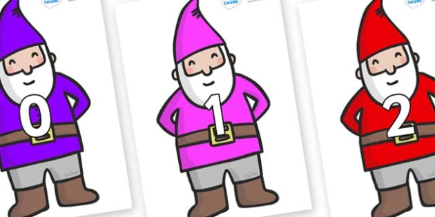 Numbers 0-31 on Gnomes - 0-31, foundation stage numeracy, Number recognition, Number flashcards, counting, number frieze, Display numbers, number posters