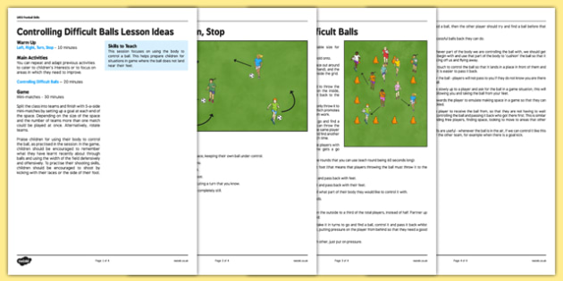 UKS2 Football Skills 8 Controlling Difficult Balls Lesson Pack - football, PE, sport, exercise, KS2, UKS2, Key Stage 2, year 5, year 6, skills, physical education, ball skills, team sports
