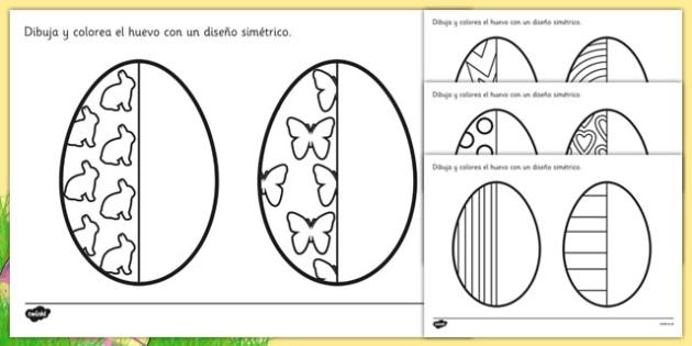 Ficha de simetría El huevo de pascua - motricidad fina, pintar, semana santa, dibujar