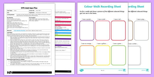 EYFS Colour Walk Adult Input Plan and Resource Pack