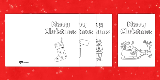Colour In Christmas Cards - Christmas, xmas, Happy Christmas, tree, advent, cards, card, flashcards, colour, colouring, make your own christmas card, nativity, santa, father christmas, Jesus, tree, stocking, present, activity, cracker, angel, snowman