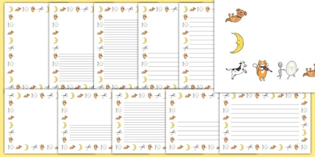 Hey Diddle Diddle Page Borders - Hey Diddle Diddle, nursery rhyme, Literacy, writing, page border, a4 border, template, writing aid, writing border, page template, rhyme, rhyming, nursery rhyme story, nursery rhymes, Hey Diddle Diddle resources, fidd