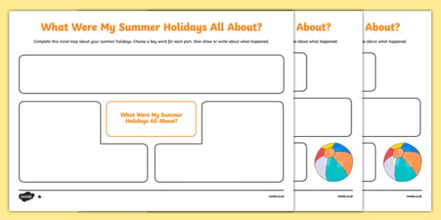 Back to School Summer Holidays Mind Map Activity Sheet-Scottish, worksheet