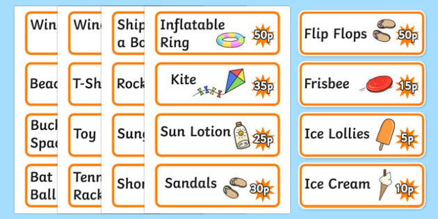 Seaside Souvenir Shop Price Labels - Role Play, sea, seaside, shop, souvenir, price, prices, Under the sea, sea, seaside, topic, water, tide, waves, sand, beach, sea, sun, holiday, coast