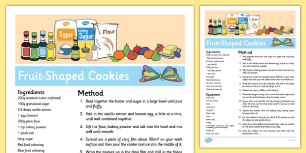 Fruit-Shaped Cookies Recipe to Support Teaching on The Very Hungry Caterpillar - EYFS, cooking, baking, biscuits,eric carle, caterpillars, minibeasts, food, sensory