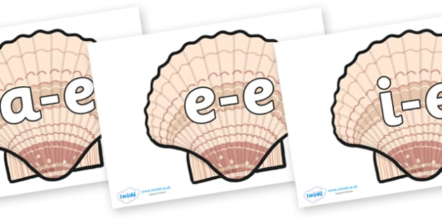 Modifying E Letters on Seashells - Modifying E, letters, modify, Phase 5, Phase five, alternative spellings for phonemes, DfES letters and Sounds