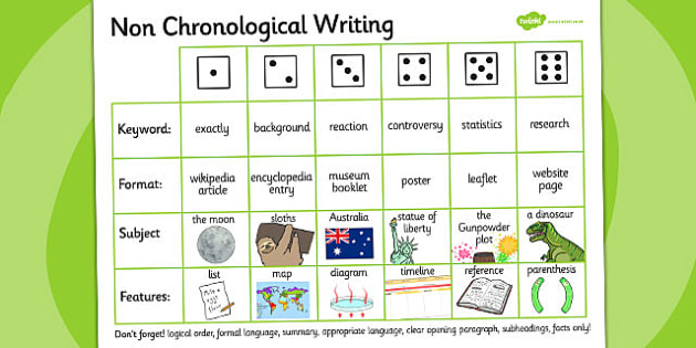 Non Chronological Writing Dice Activity - writing aid, literacy