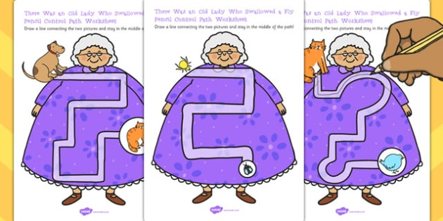 There Was Old Lady Who Swallowed a Fly Pencil Control Worksheets
