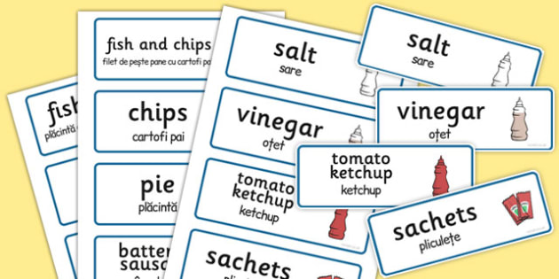 Fish and Chips - joc de rol, cartonase, imagini, cuvinte, Romanian