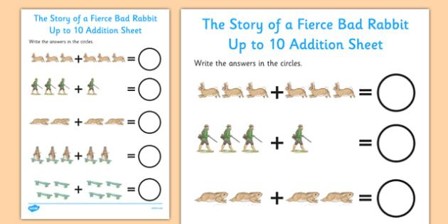 Beatrix Potter - The Story of a Fierce Bad Rabbit Up to 10 Addition Sheet - beatrix potter, fierce, bad, rabbit